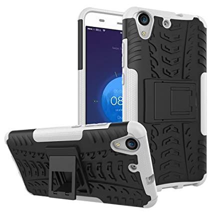 FaLiang Huawei Y6II Case, Dual Layer Armor Combo Shockproof Heavy Duty Shield Hard Case Cover for Huawei Y6II (White)