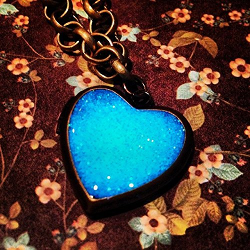 Pastel Aqua Blue Glow In The Dark Brass Heart Locket on Large Chunky Rolo Chain