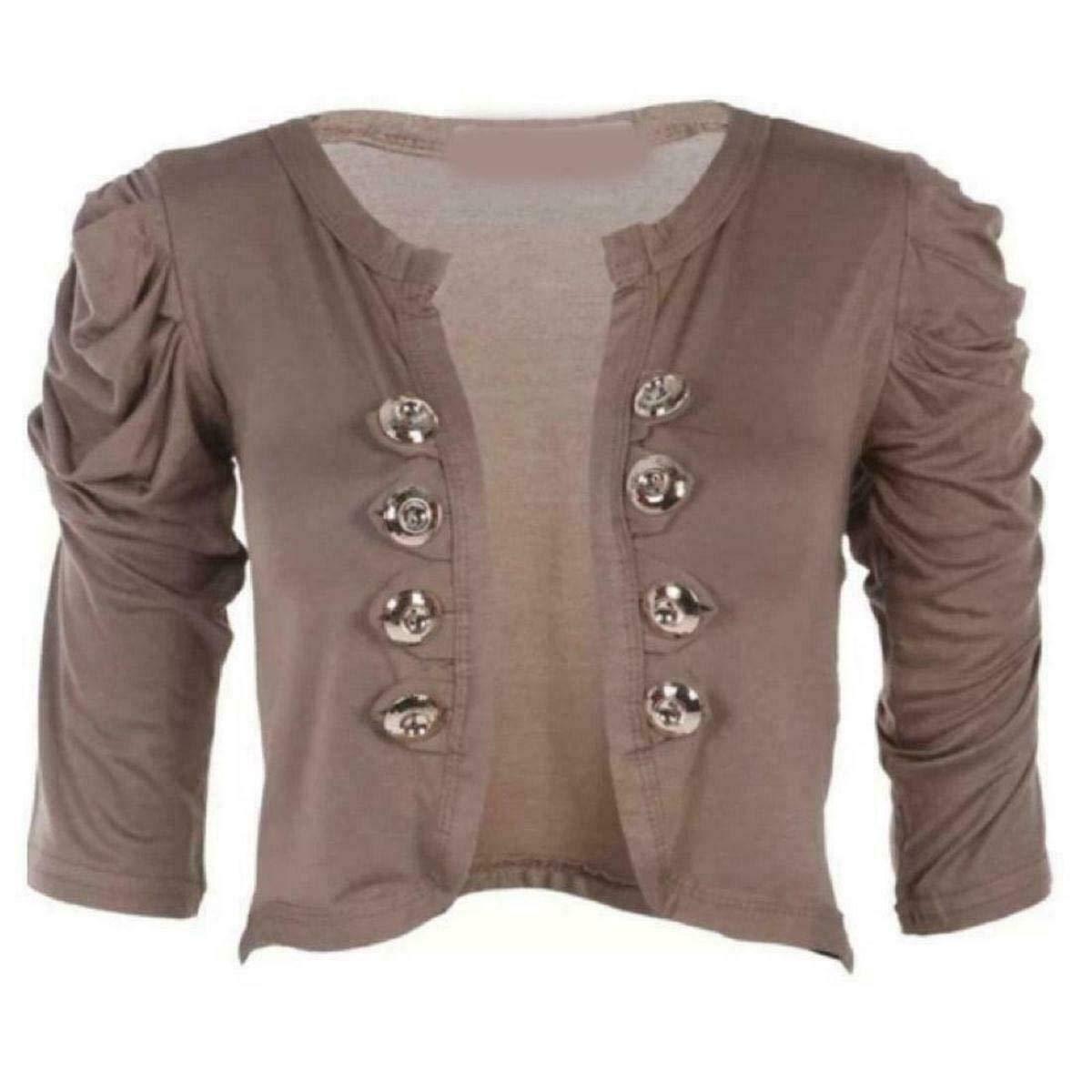 NAZ Fashion Damen Plain /& Printed Military 8 Button 3//4 Geraffte Bolero Bolero Shrug Strickjacke EU 36-42