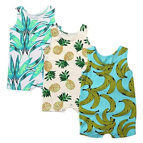 (Kids Tales Baby 3-Pack Boys Girls Sleeveless Romper Pineapple Heart Flower Bodysuit )