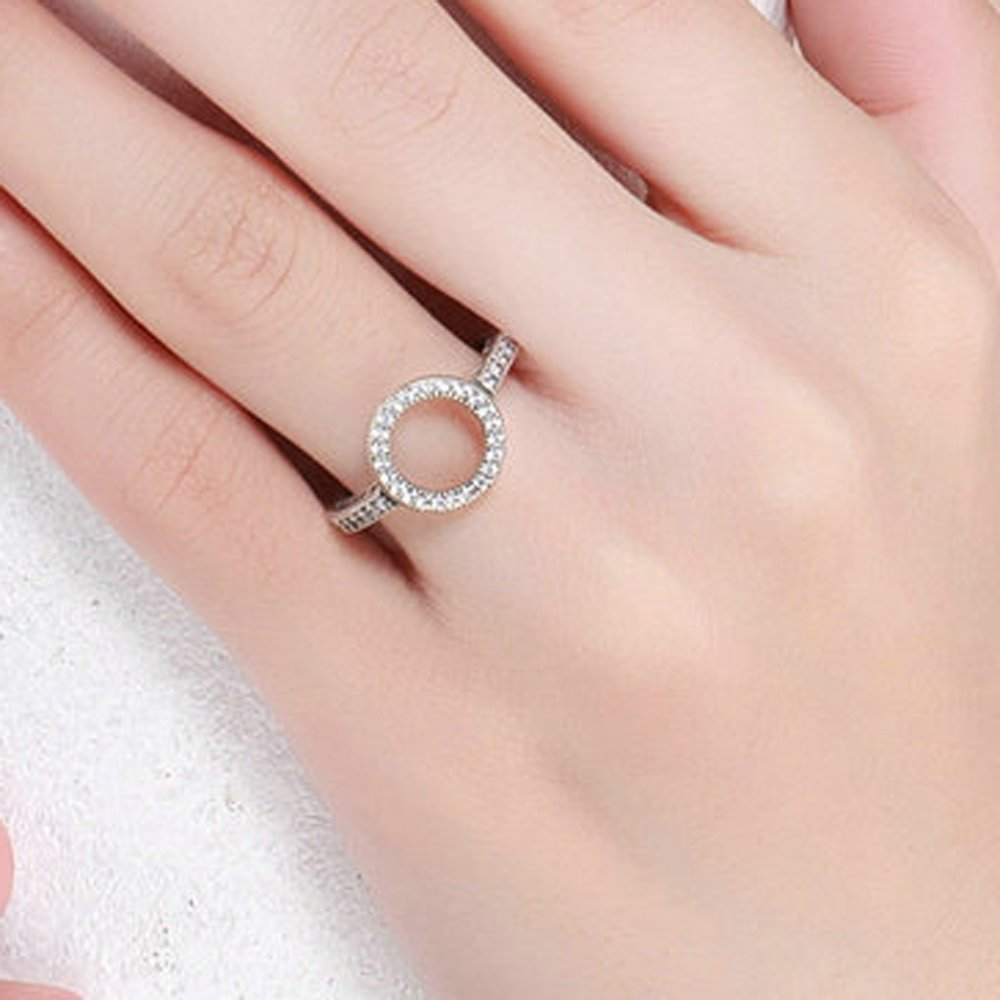 Amazon.com: FF Fashion ring 925 Sterling Silver Forever Clear Round ...