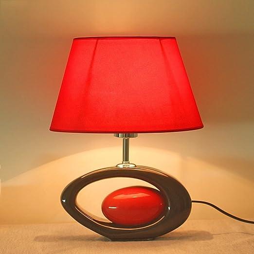 Hotel Lámpara de mesa de cerámica roja - E27 Fuente de luz ...