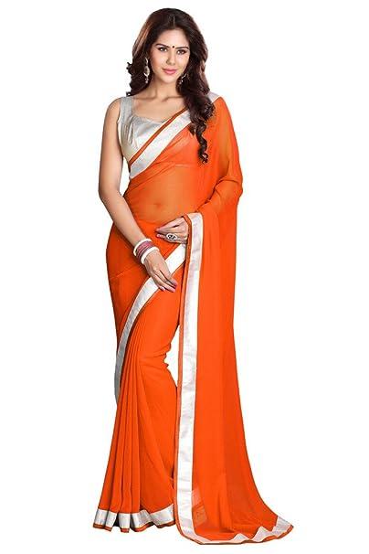 sourbh Mirchi Georgette de encaje de trabajo de la moda las mujeres boda partywear indio Saree