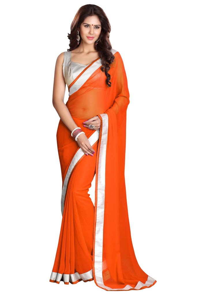 Sourbh Mirchi Fashion Women Orange Faux Georgette Indian Saree Unstitched Blouse Piece