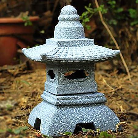 zenggp Pagoda Jardín Japonés Linterna Imitacion Efecto Piedra Tallada A Mano Decoración De Jardín Estatua,F+34cm: Amazon.es: Hogar