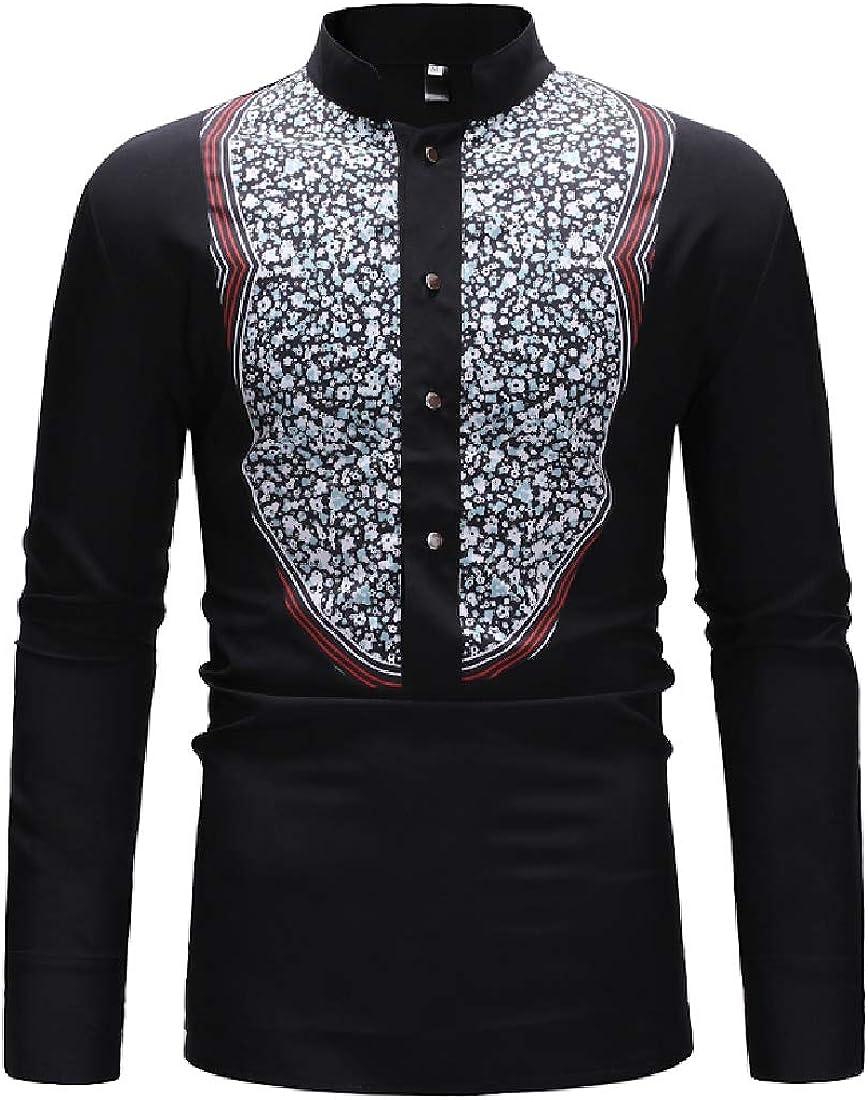 Jofemuho Mens Dashiki African Print Classic Button Down Stand Collar Shirts