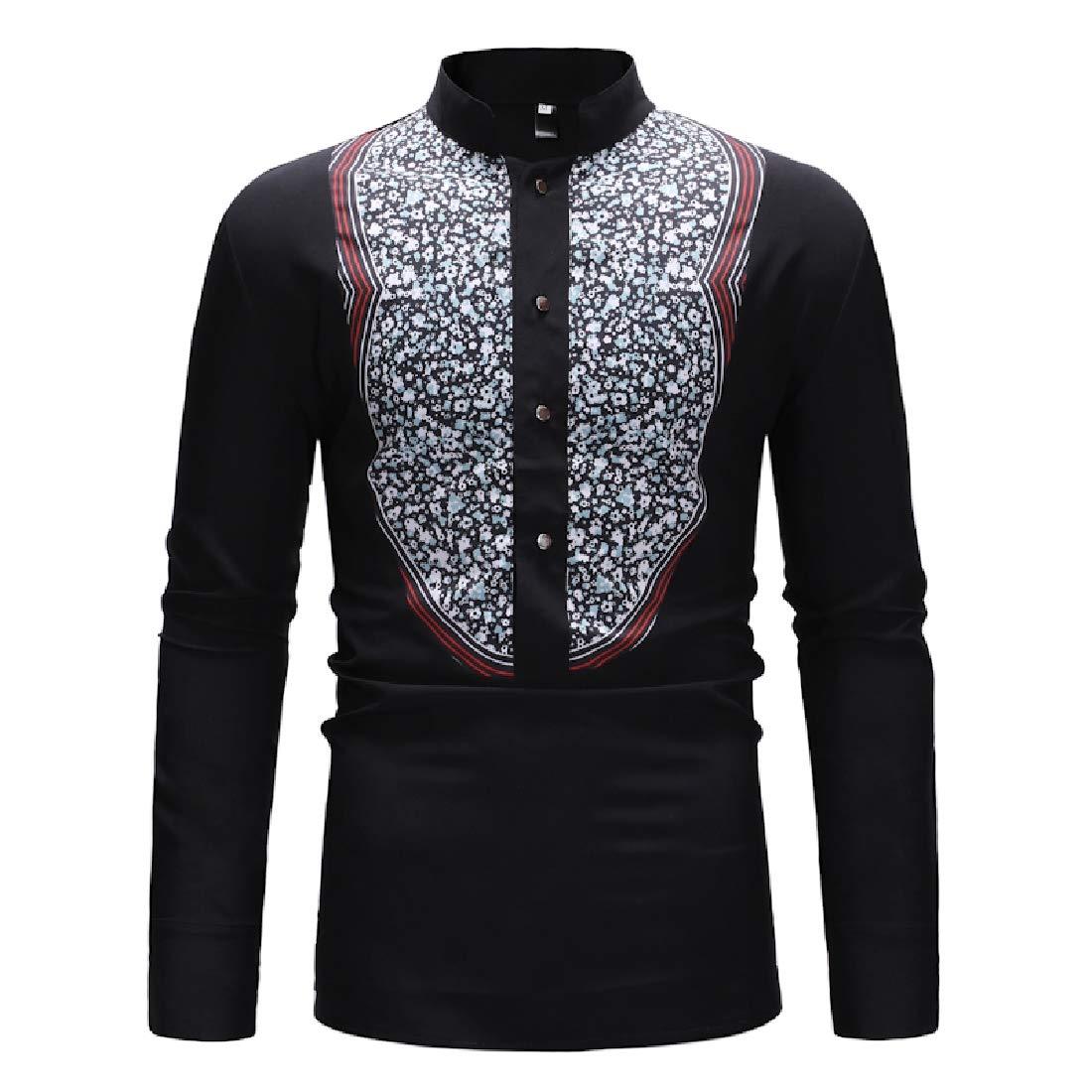 Rrive Men Stand Collar Button Down Classic Dashiki African Print Shirts