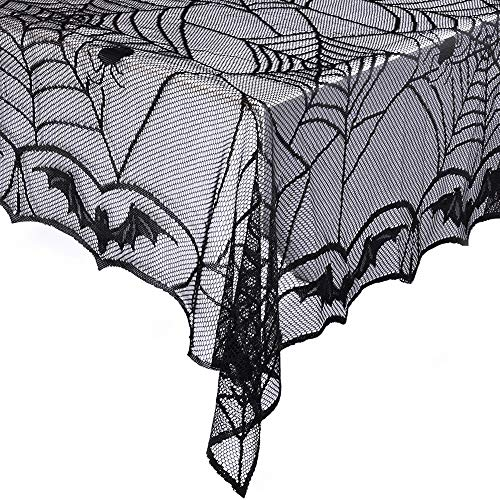 eZAKKA Halloween Black Spider Web Lace Tablecloth Rectangular 48 x 96 inch Polyester Spooky Bat Lace Tablecover for Gothic Halloween Party Home Decorations ()