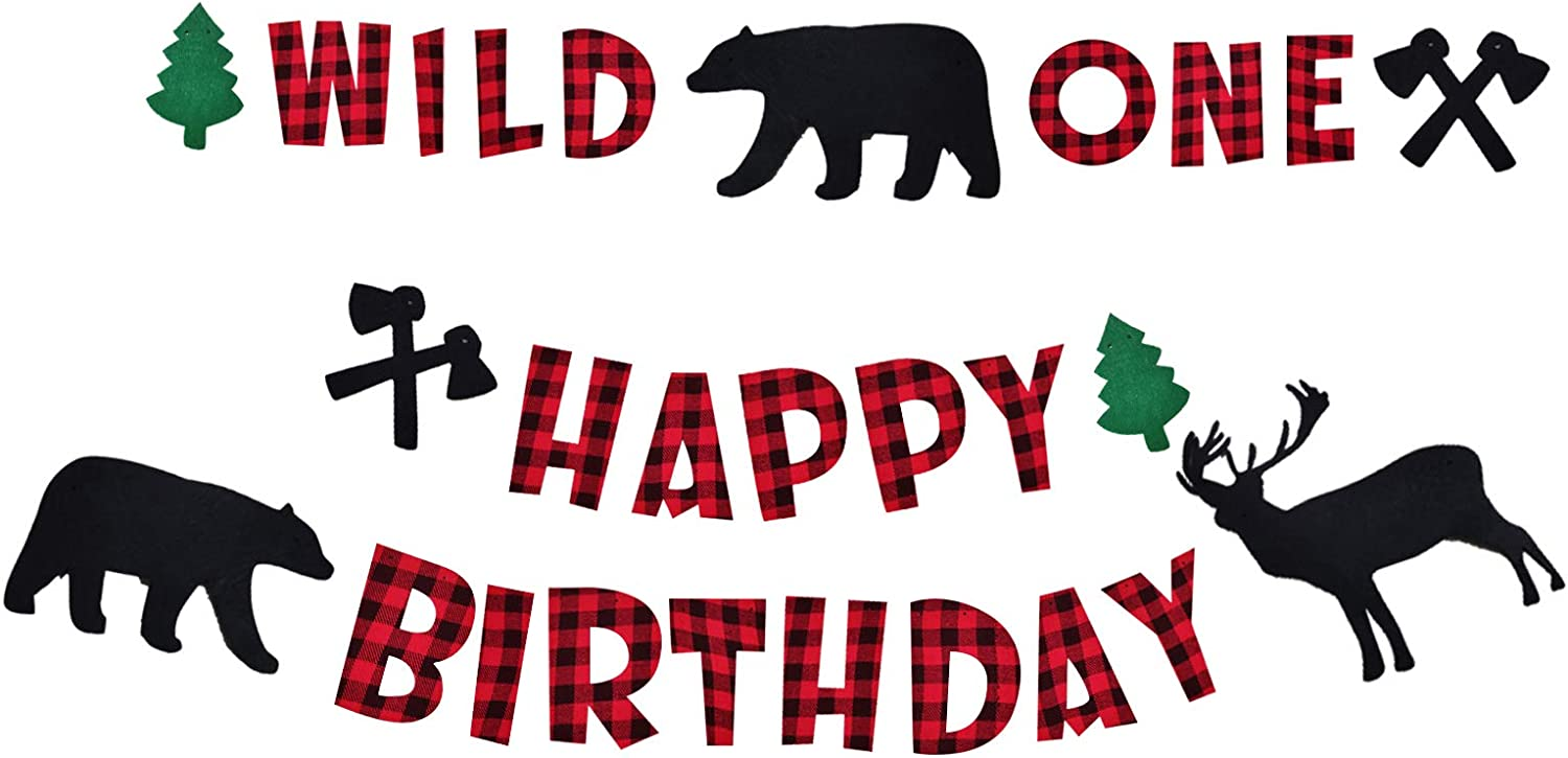 Lumberjack Wild One Birthday Decorations, Lumberjack Wild One Banner, Lumberjack Happy Birthday Banner for Kids First Birthday Party Supplies