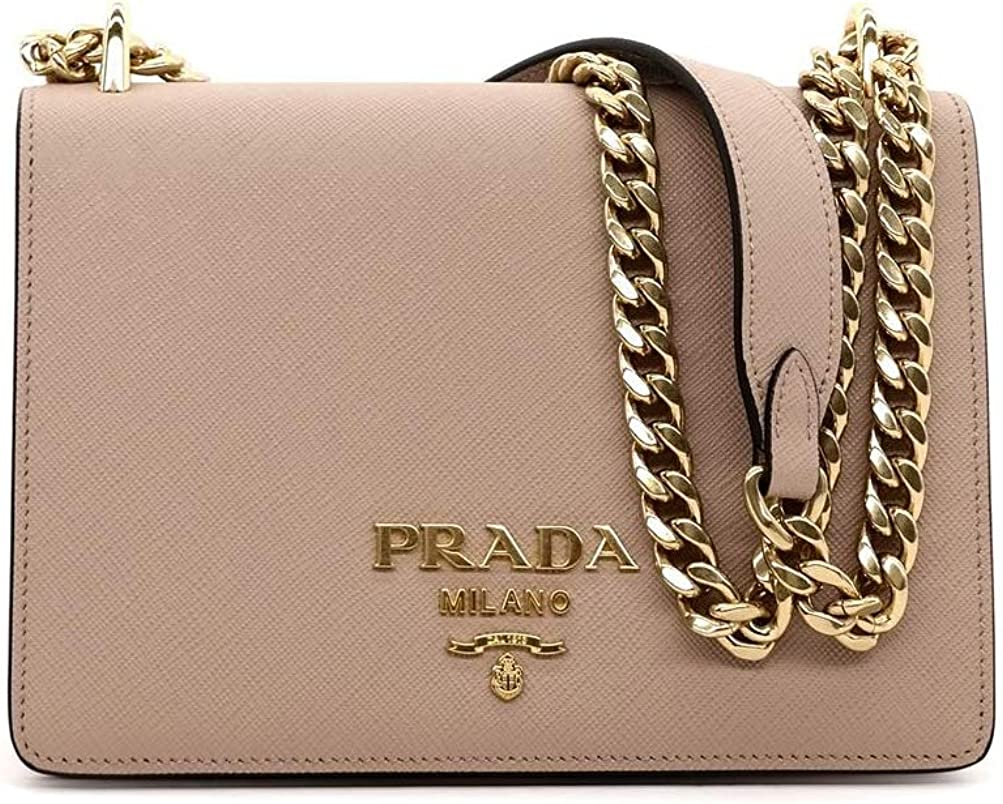 Prada Pattina Beige Saffiano Leather Crossbody Bag