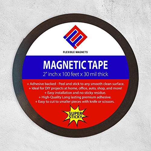 Flexible Magnets New 10 Feet Adhesive Magnetic Strip - 2 wide Adhesive Back 30 Mil thick.