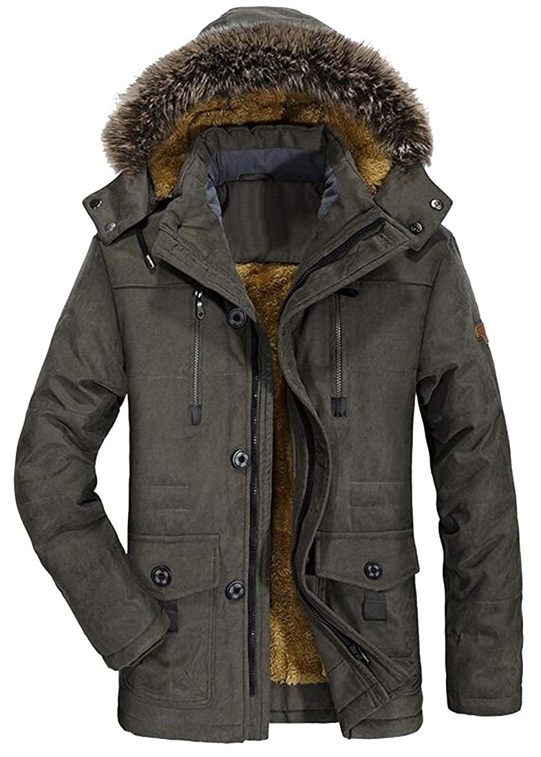 SHOWNO Mens Plus Size Winter Thicken Faux Fur Hooded Mid Length Parka Relaxed Fit Warm Quilted Jacket Coat Outerwear