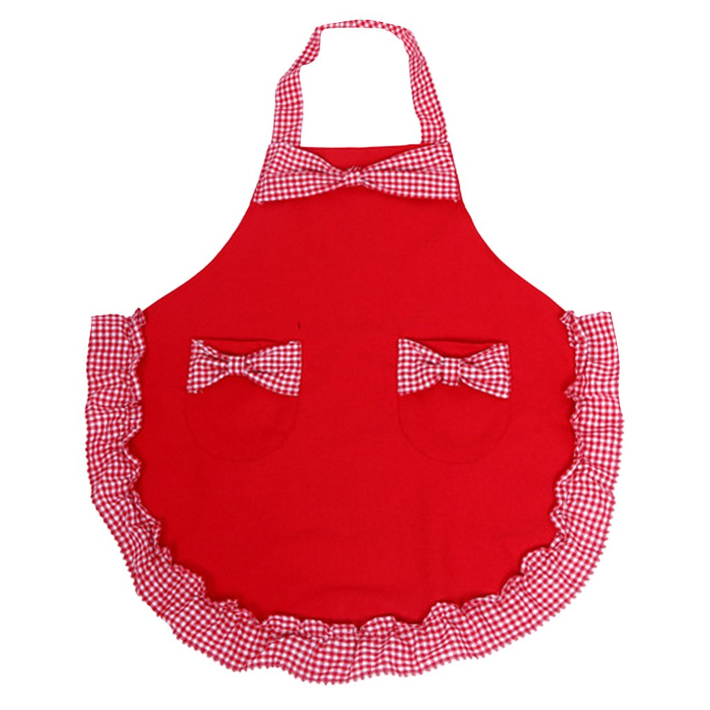 MagiDeal Lovely Retro Kitchen Aprons Woman Girl Cotton Bowknot Cooking Salon Vintage Apron Dress Christmas - Red 3