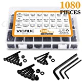 VIGRUE M2 M3 M4 Alloy Steel Socket Head Cap Screws Nuts Set 1080pcs Assortment Kit with Storage Box, Three Hex Wrenches Included (1080 PCS) (Color: 1080 PCS, Tamaño: 1080 PCS Hex Socket Head Cap Screws Nuts)