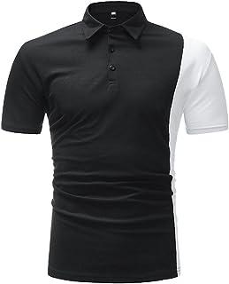 LANSKRLSP Maglietta Uomo Elegante, Fashion Business Shirt Uomo Slim Fit Patchwork Top Manica Corta Polo Tee Camicetta Top (A - Nero, L)