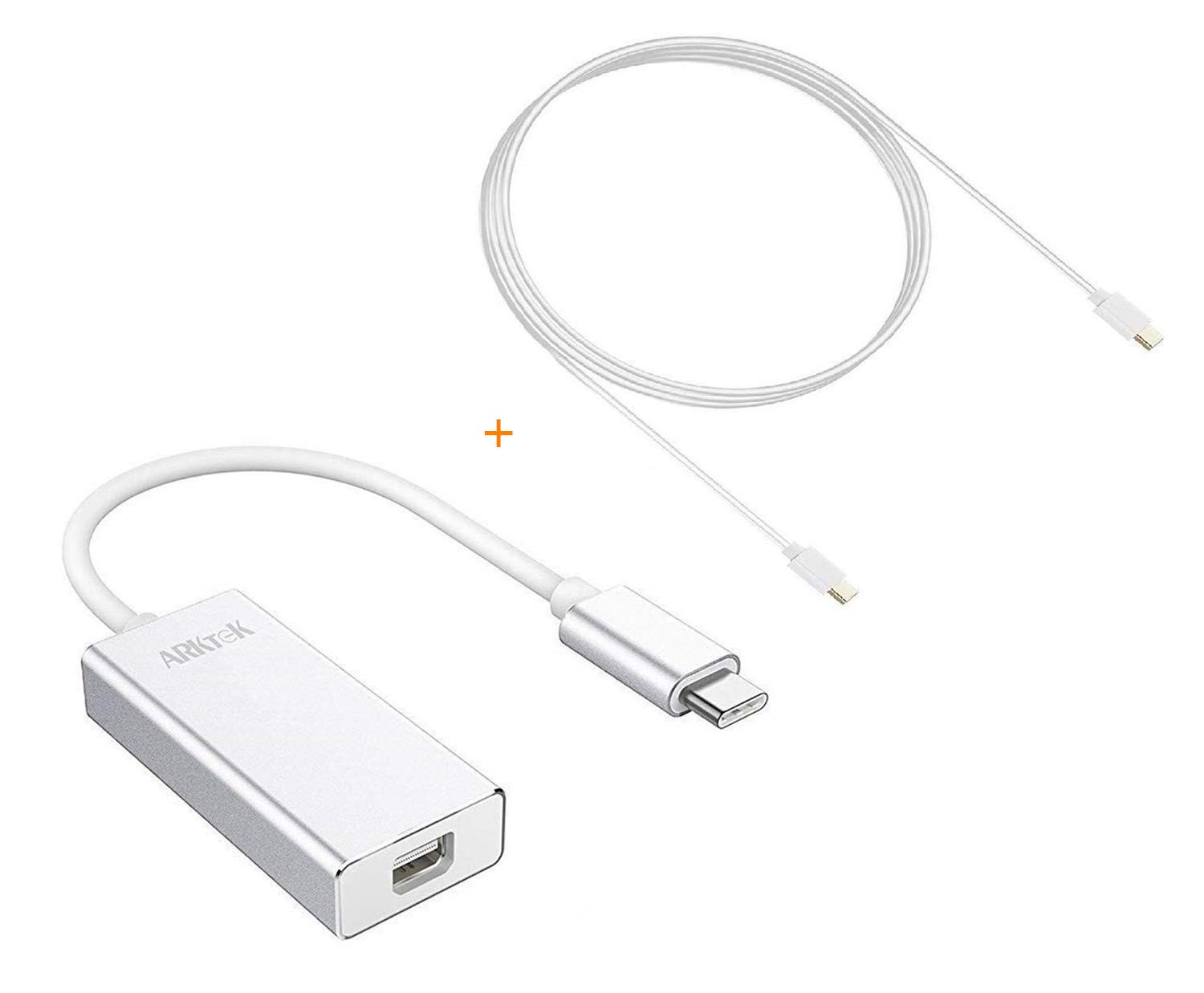 ARKTEK USB-C to Mini DP Adapter with Mini DP Cable USB Type C (Thunderbolt 3 Compatible) to Mini DisplayPort 4K Cable Adapter for MacBook Chromebook Pixel and More atk-ctominidp3-ca
