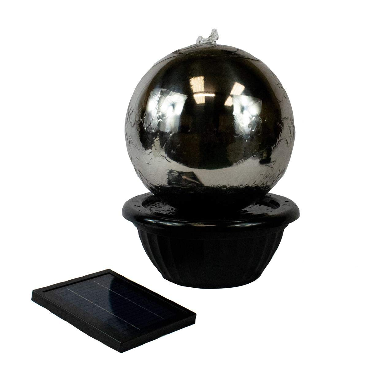 30cm Solar Powered Sphere Stainless Steel Garden Water Feature