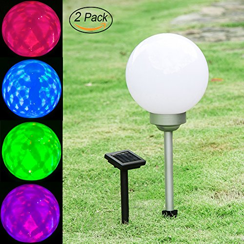 Maggift Solar Garden Ball Lights Christmas Solar Lights Color Changing Globe Lights for Outdoor, Yard, Patio, Path, Landscape, Home Decoration, 2 Pack