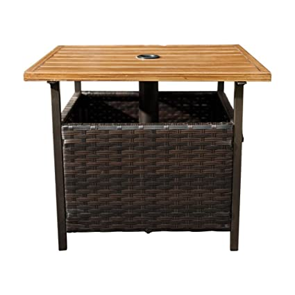Attractive SunLife Patio Umbrella Base/Side Table,Outdoor Bistro Table Base Stand With  Umbrella Hole