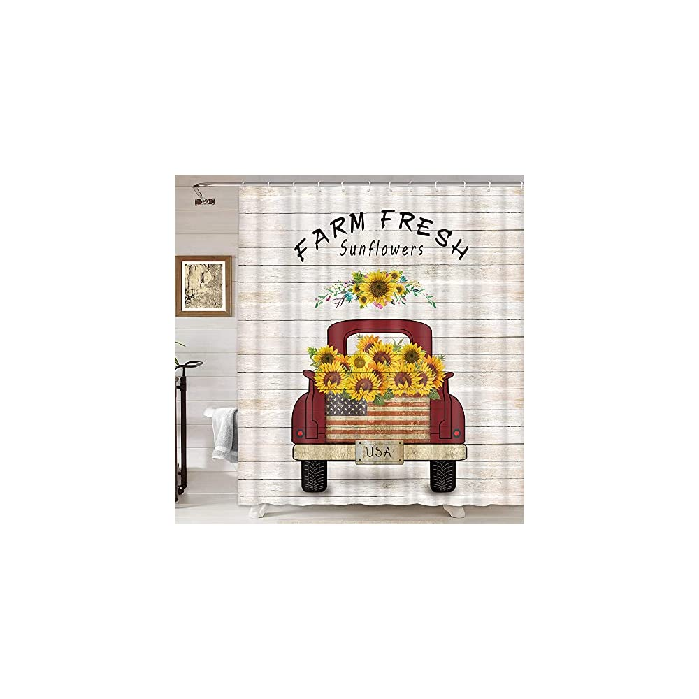 DYNH Vintage Farm Truck Sunflowers Shower Curtain, Farmhouse Red Truck Pull Sunflowers on Retro Wooden Bathroom Curtains…