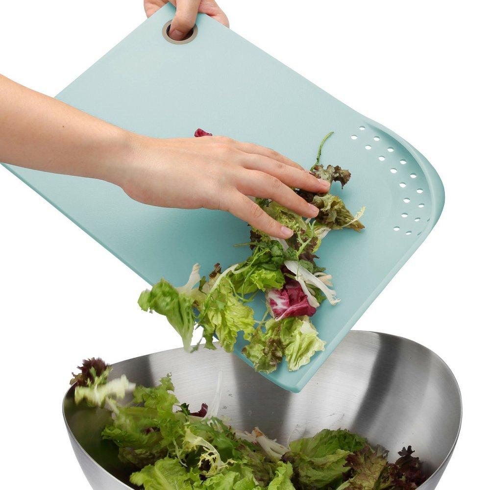 PortoFino Cut & Drain Cutting Board - Chopping Board   22 Draining Eyelets   Non-Slip Silicone Feet   Hanging Loop   Light Weight & Durable   Food Grade Plastic   BPA Free   Kitchen Prep Accessories