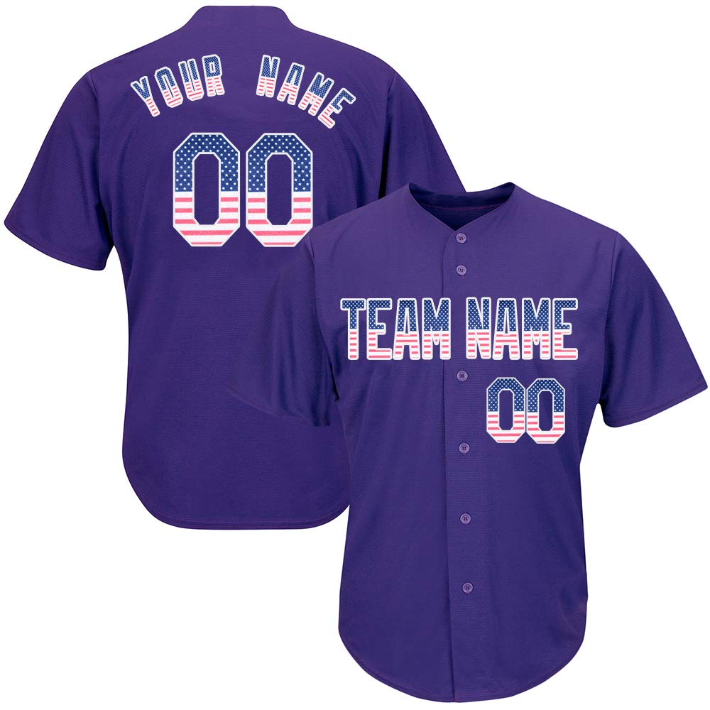 Custom Men's Purple Baseball Softball Jersey with Embroidered Your Name and Numbers,American Flag Size S by DEHUI