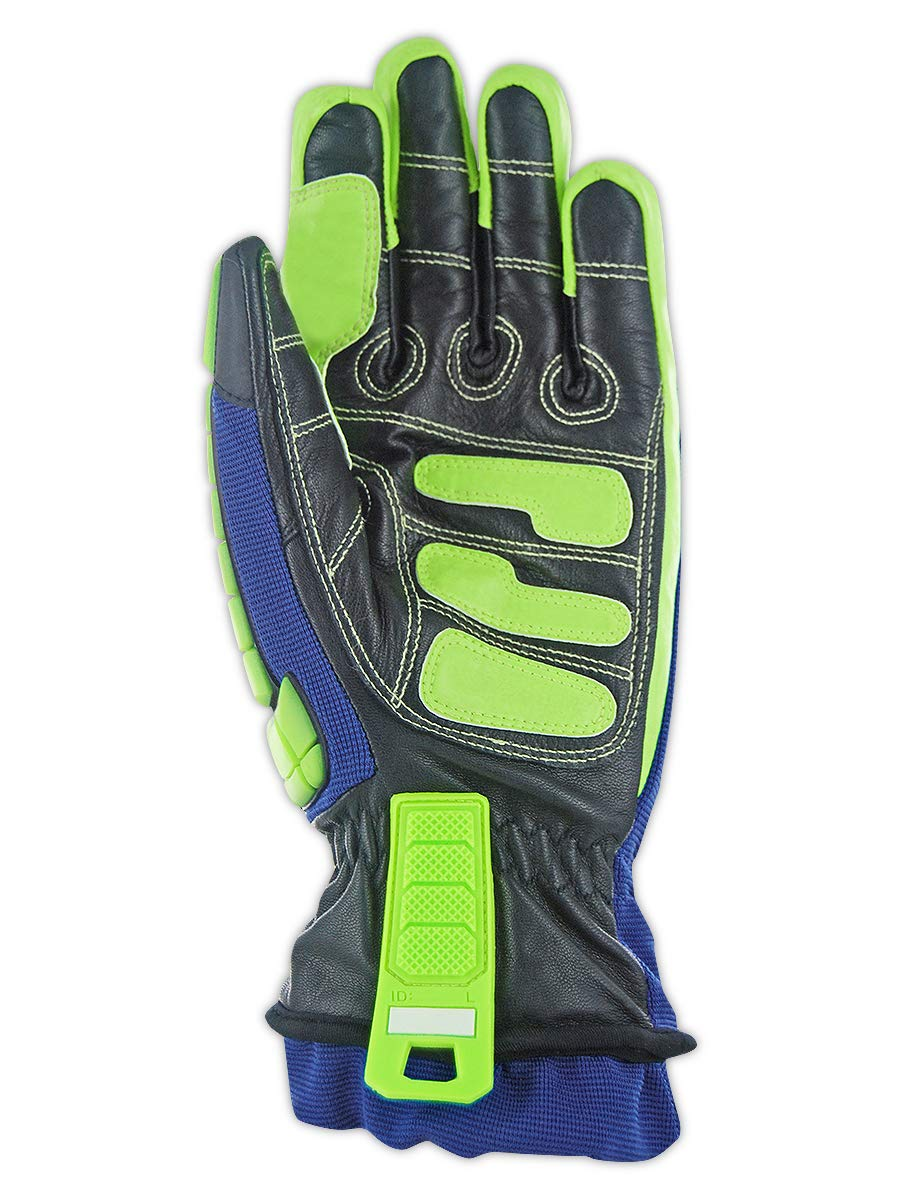 Magid Insulated Winter Work Gloves   Leather Coated Cut Resistant Impact Safety Gloves with Thermal Liner & Waterproof Membrane - Blue/Green, Size XL (1 Pair) by Magid Glove & Safety (Image #2)