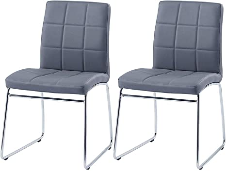 2//4//6× Grey Faux Leather Dining Chairs Metal Legs High Back Kitchen Dinning Room