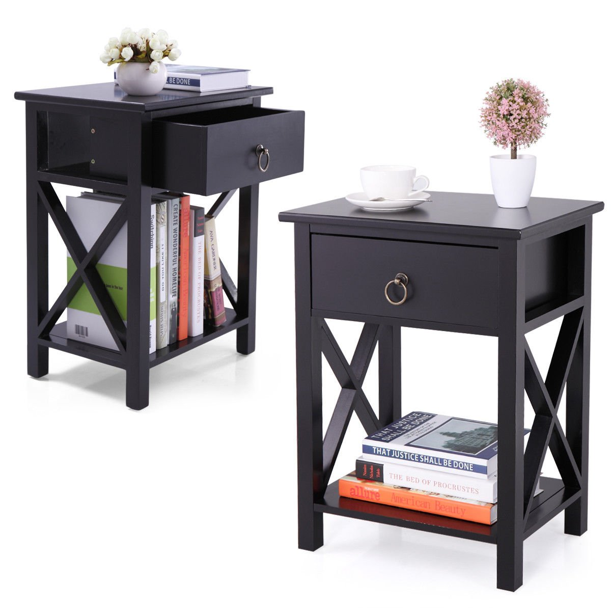 JAXPETY Set of 2 Black Finish X-Design Side End Table Night Stand Storage Shelf w/Bin by JAXPETY