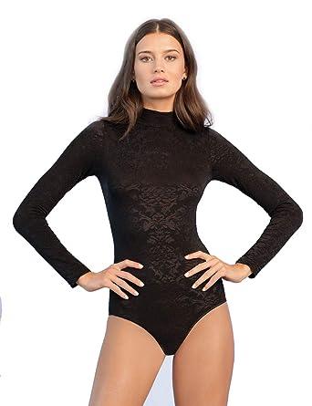GF - Body - Uni - Manches Longues - Femme - noir - Large  Amazon.fr   Vêtements et accessoires e9d9a00eac5