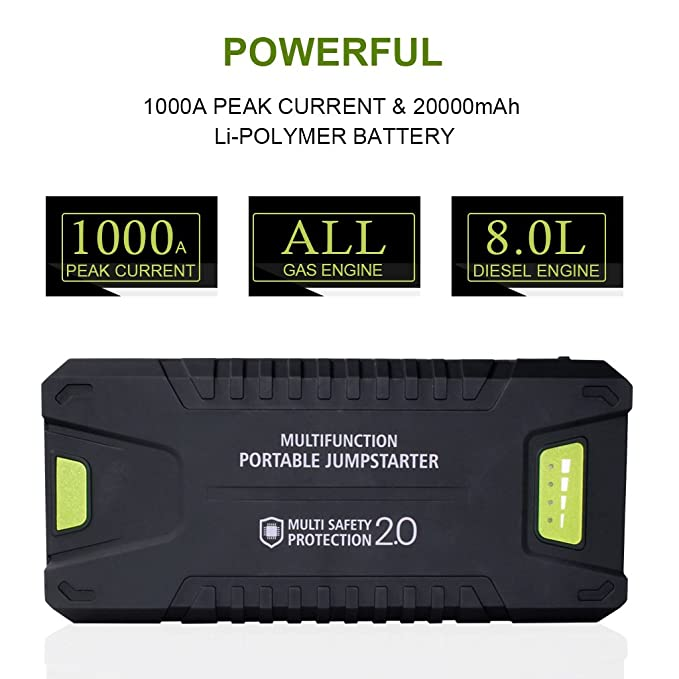 Dr.Auto - Arrancador de Coches 1000A, 20000mAh, Jump Starter Portatil 12V Baterías Soporte Vehículo de Gasolina: Amazon.es: Coche y moto