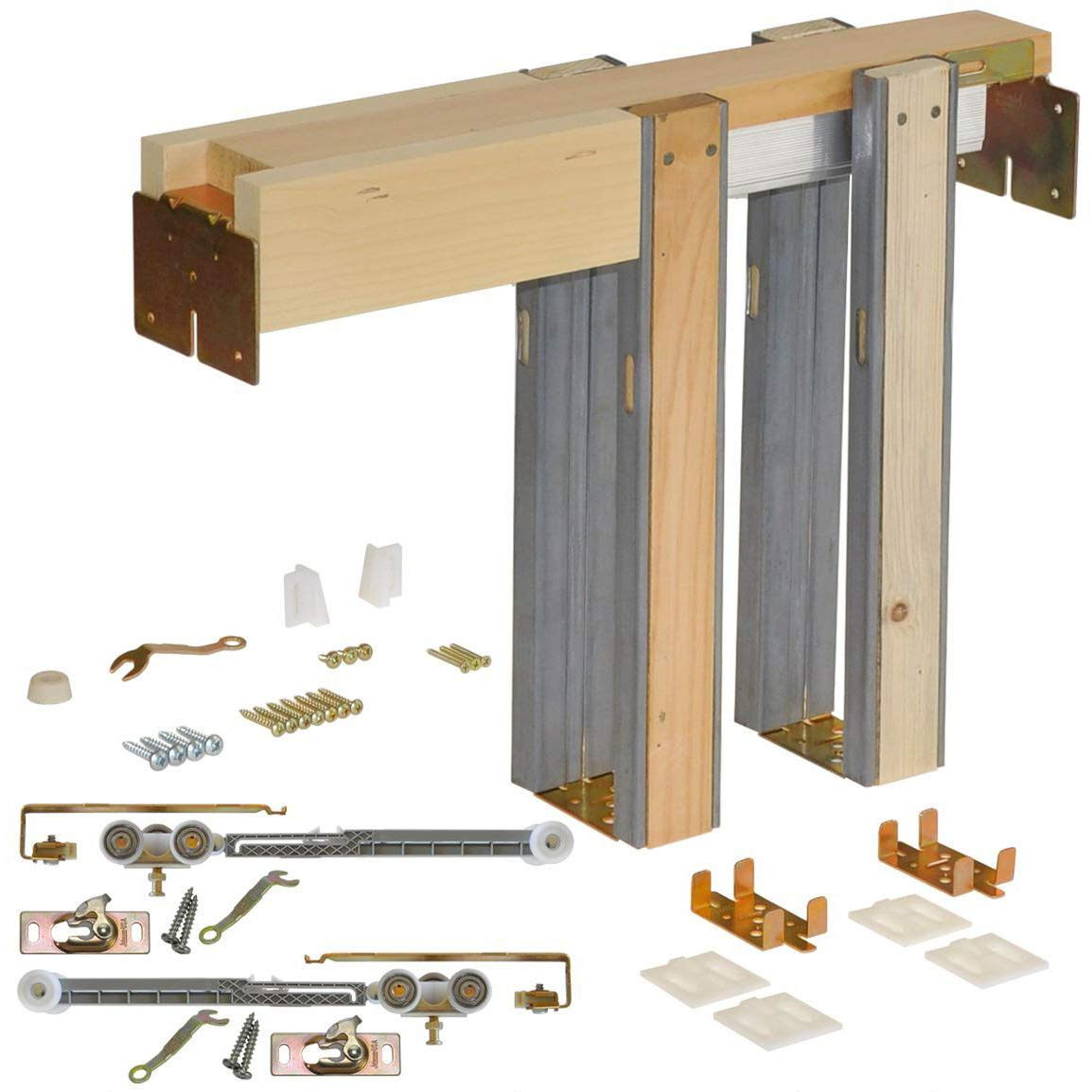 Johnson Hardware 1500 Soft Close Series Commercial Grade Pocket Door Frame for 2x4 Stud Wall (28 inch x 80 inch)