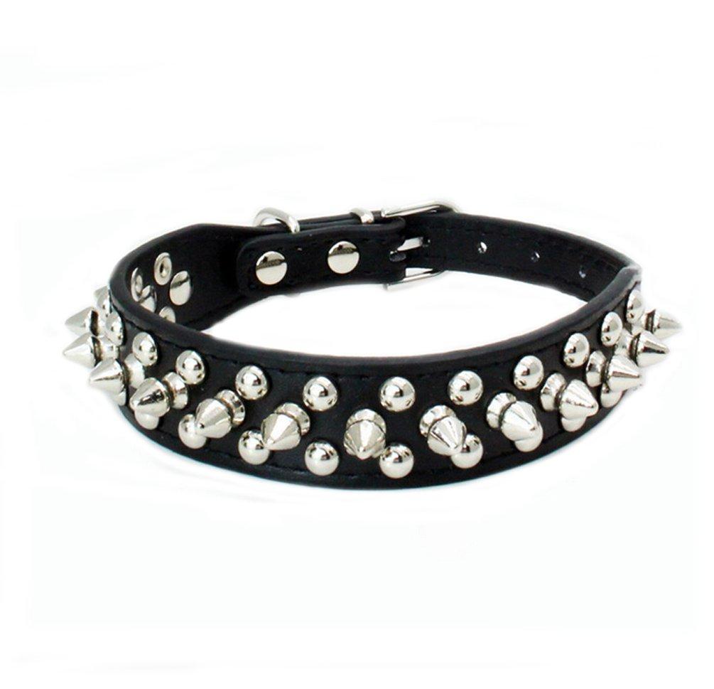 Black XXS Black XXS Ewandastore Cute Cool Adjustable PU Leather Collar Necklace Punk Round Head Rivet Nail Dog Chain Leash Dog Collars for Boy Girl Dogs Pet(Black,XXS)