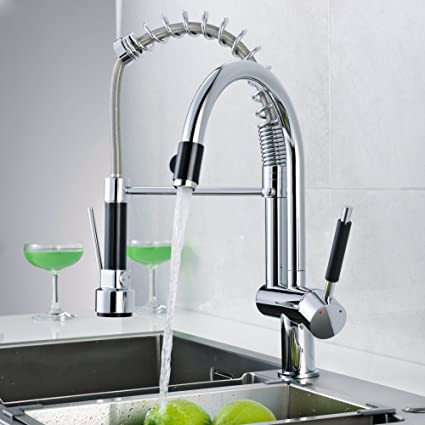 Flg Double Spout Spring Pull Down Kitchen Sink Faucet Commercial Pre Rinse Kitchen Faucet With Sprayer Chrome