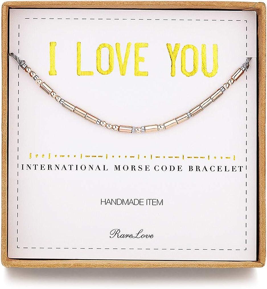 Ldurian Libra Morse Code Bracelet Secret Message Cuff Bracelet Engagement Gift with Gift Box