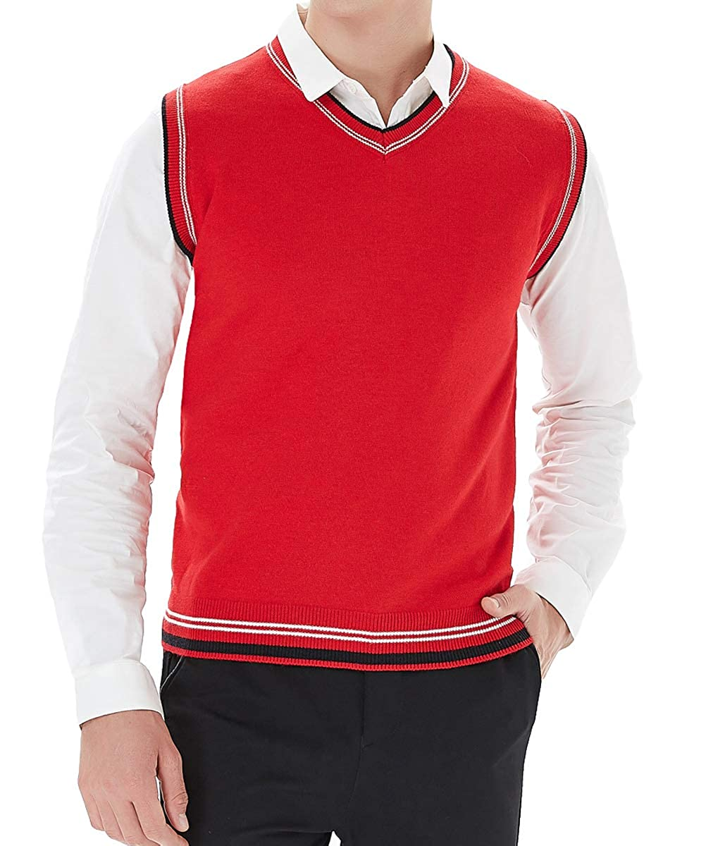 YinQ Mens V Neck Sweater Vest Knitted Tank Top Sleeveless Striated Pullover