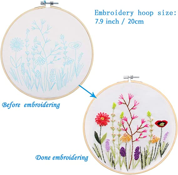 Bamboo Hook Tools Dibiao Floral Cross Stitch Kit 2 Set of Embroidery Starter Kit for Beginners Adults Kids Patterned Embroidery Cloth