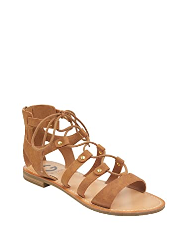 56e54d1190a G by GUESS Womens Hotsy Faux Leather Gladiator Flat Sandals Tan 7 Medium (B
