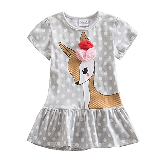 0dec90e73de7 Amazon.com  Jxs Neat Kids Baby Short-Sleeved Dress Embroidered 100% Cotton  Unicorn Girls Dresses Dresses for Girls SH6496  Clothing