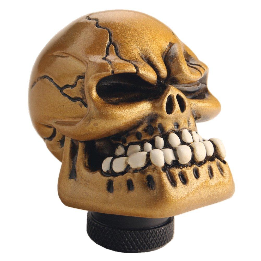 Gold JGR Skull Manual Custom Shift Knob Screw On Universal 4 5 6 ...