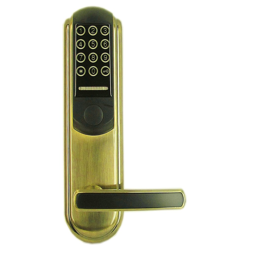 Fenteer スマート ドアロック IR カード キー パスワード キーパッド ホーム ホテル オフィス セキュリティ システム 盗難防止 全2色 ゴールド B0797XHM28 ゴールド ゴールド