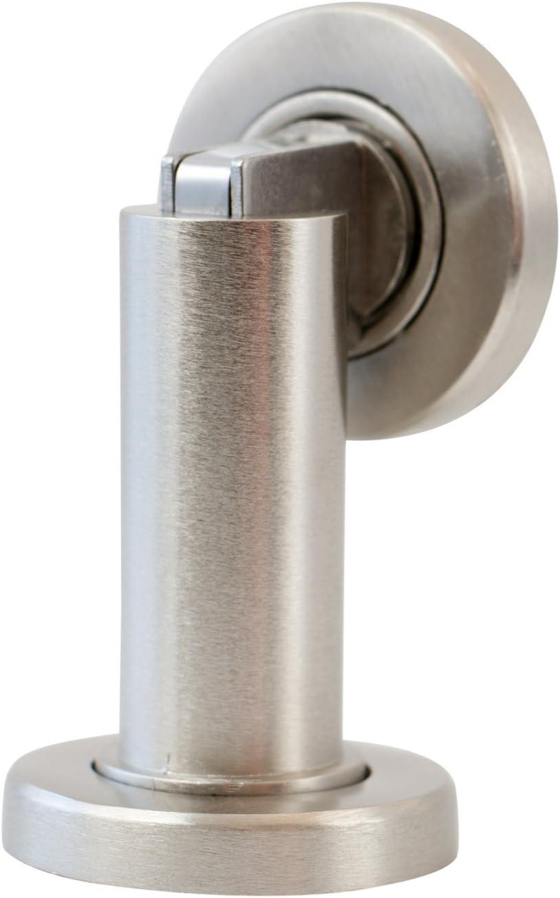 Stoppwerk Topes para puertas magnético MS010 de acero inoxidable - Material de fijación para suelo y pared incluido - Tope puerta