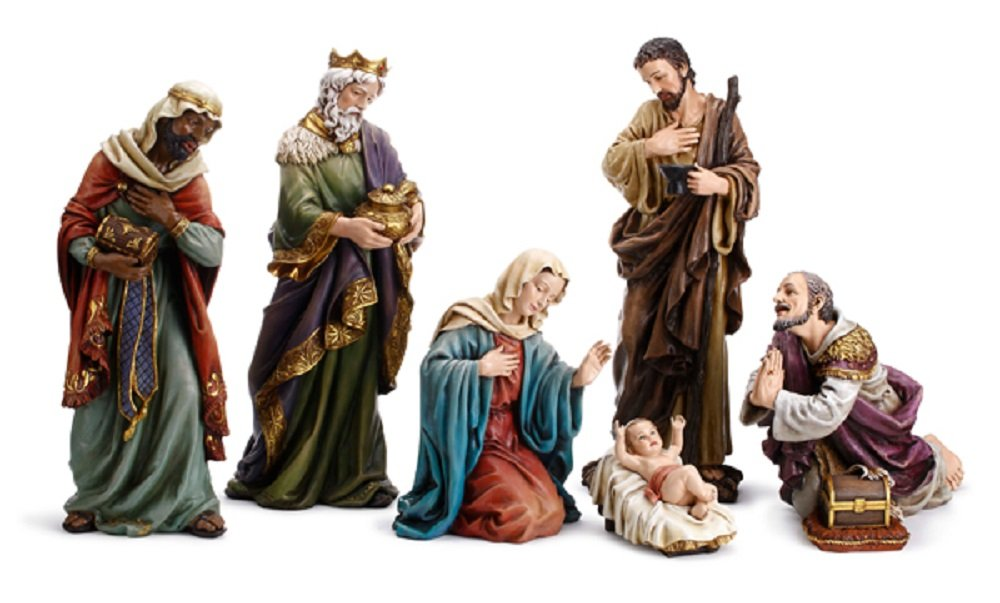 7 Piece Hand Painted Nativity Set, 24'' H.