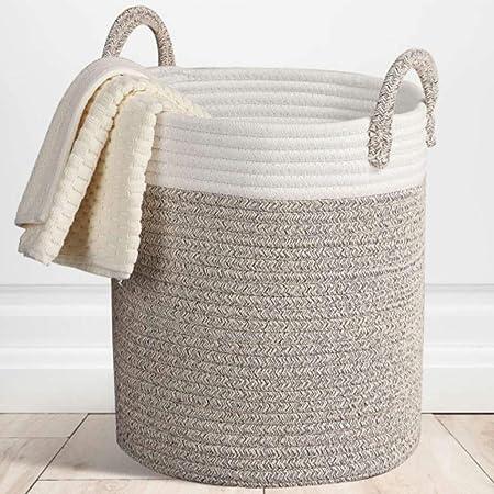 TRD-Storage Basket Cestas de Almacenamiento de Cuerda Tejida en Canasta: Organizador de algodón Grande de 33
