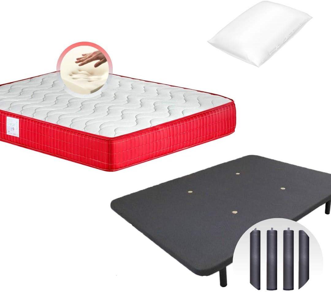 Colchones Dulces Sueños COLCHON VISCO VISCOELASTICO Confort + Base TAPIZADA Maya 3D + 2 Almohada Microfibra Mash (135x190)