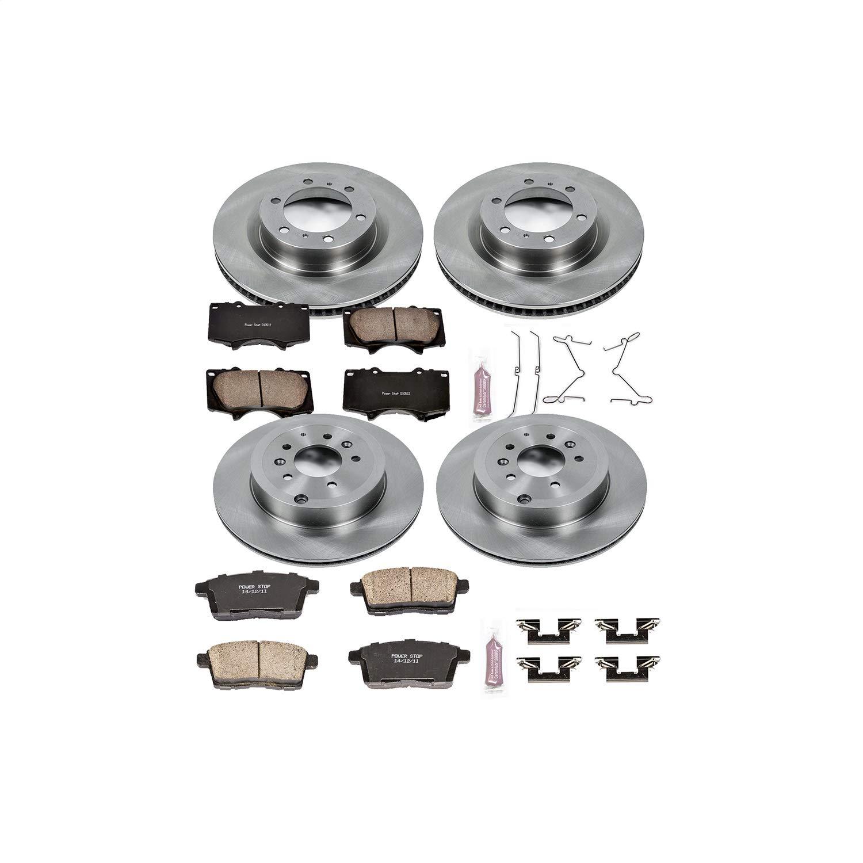 Power Stop KOE5879 Front and Rear Brake Kit- Stock Replacement Brake Rotors and Ceramic Brake Pads
