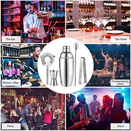 Cocktailshaker Set, HICOO Edelstahl Shaker, Jigger, Rührlöffel, Sieb, Eiszange, Cocktail Zubehör Barkeeper Set