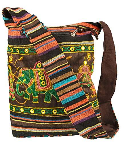 Patchwork Brown Cotton Hobo Crossbody Shoulder Bag Hipster Boho Sling Messenger School Casual