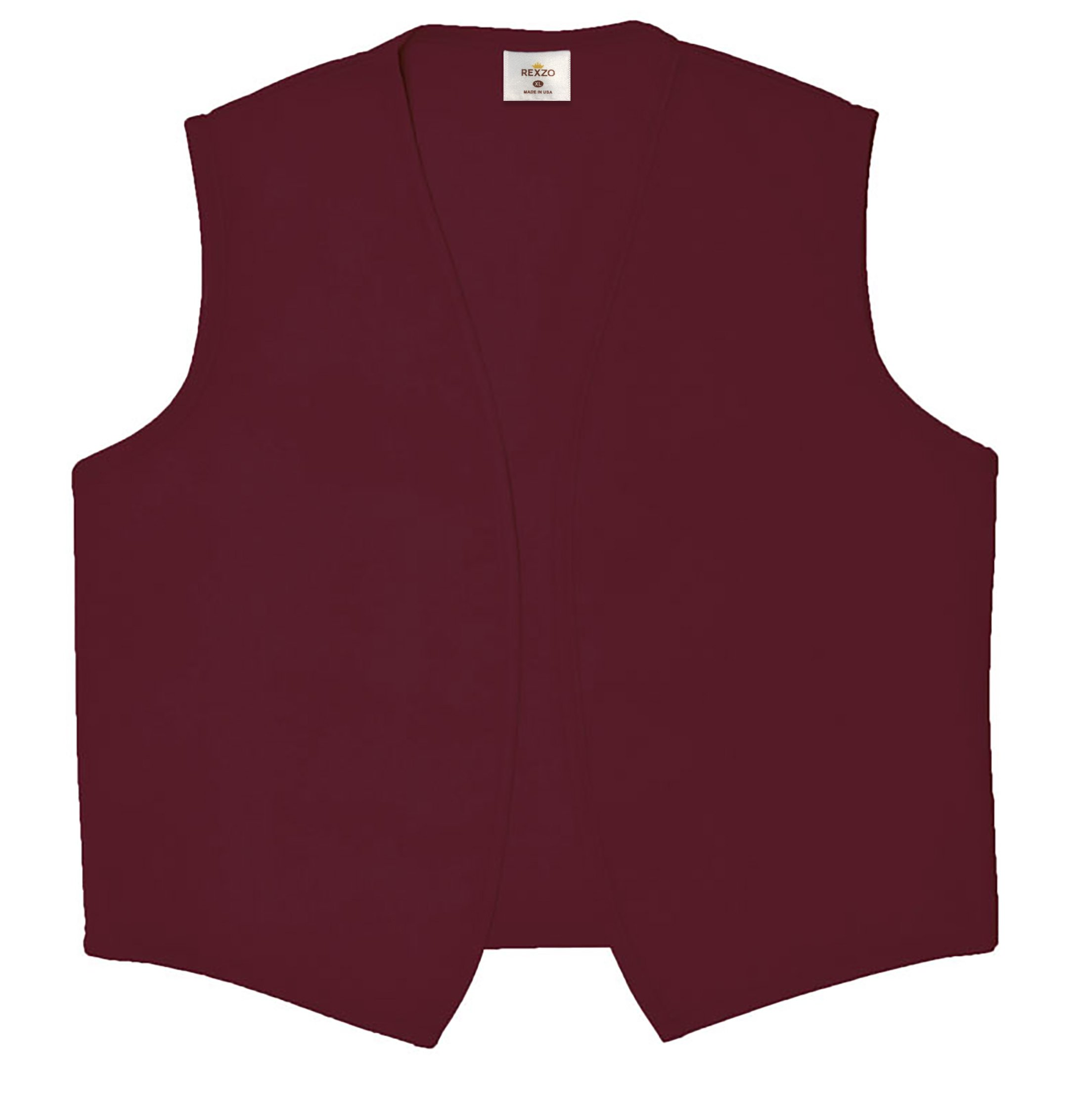 REXZO Unisex Vest No Pocket No Buttons– Made in The USA - Maroon, Medium