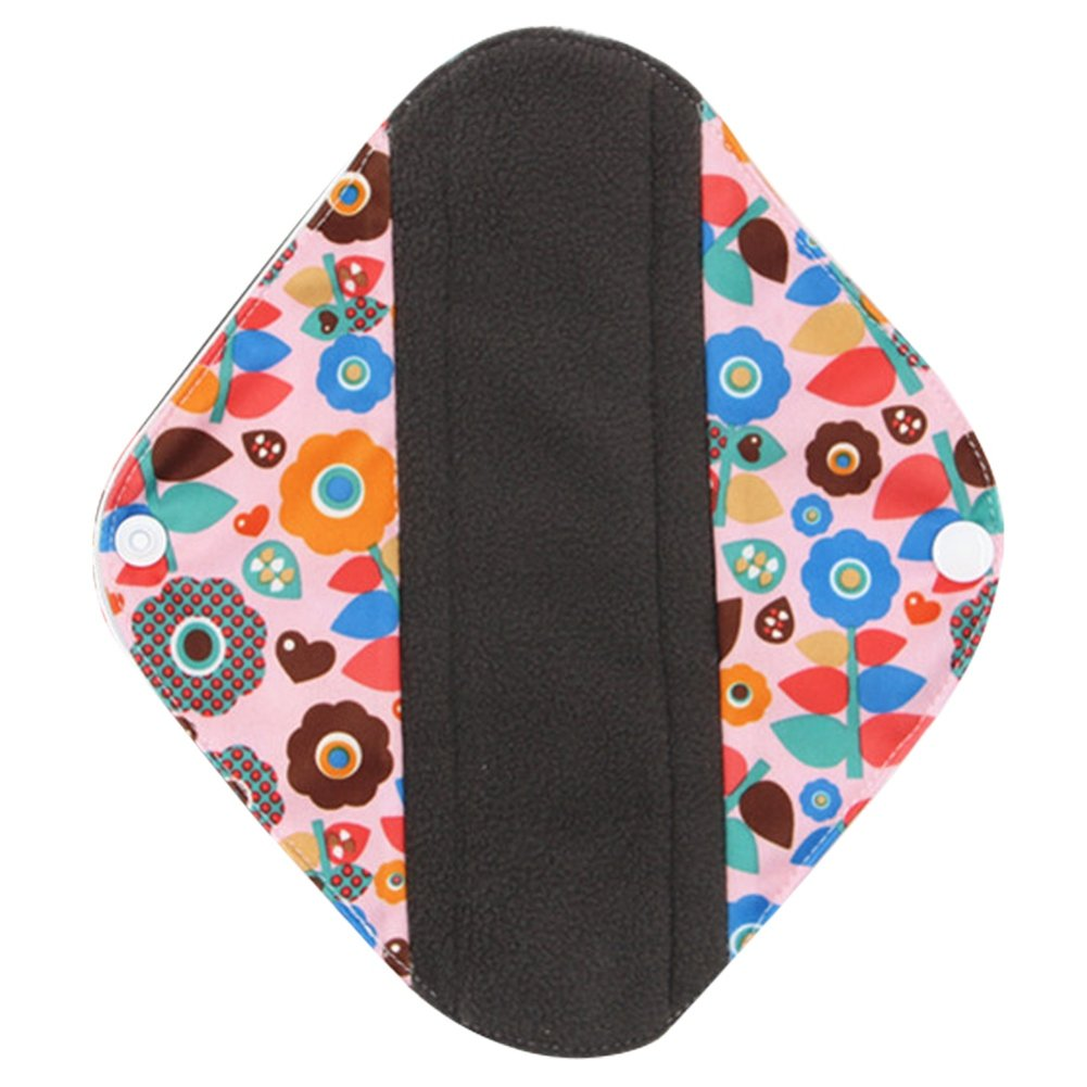 Bamboo Charcoal Reusable Sanitary Pads BOBORA Menstrual Panty Pads Reusable Sanitary Napkin Postpartum Nursing Pads Pack of 5